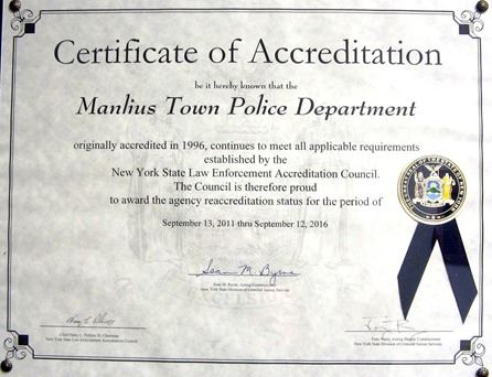Certificate of Accrediation to the Manlius Town Police Department from New York
