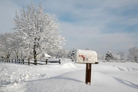 A mailbox covered in snow
