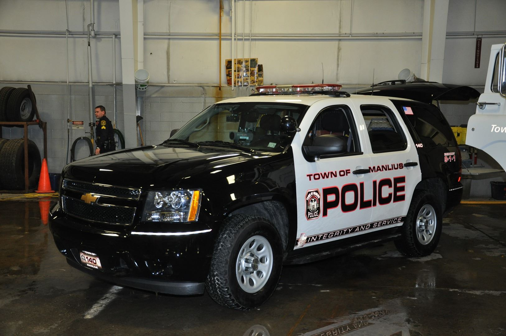 A police vehicle in a garage