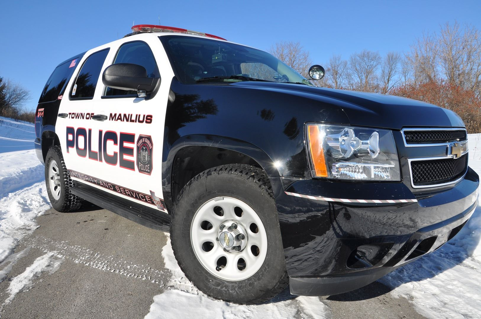 Front view of a police vehicle